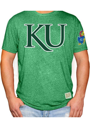Original Retro Brand Kansas Jayhawks Mens Green St Pats KU Fashion Tee
