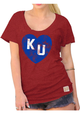 Original Retro Brand Kansas Jayhawks Womens Heart Red Scoop T-Shirt