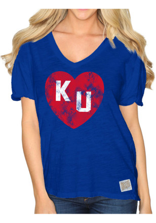 Original Retro Brand Kansas Jayhawks Womens Nicole Blue Scoop T-Shirt