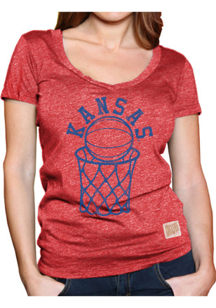 Original Retro Brand Kansas Jayhawks Womens Red Megan V-Neck
