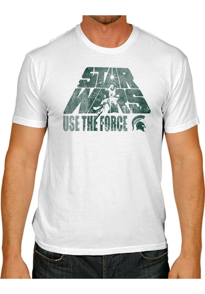 Original Retro Brand Michigan State Spartans White Use The Force Short Sleeve Fashion T Shirt - Image 1