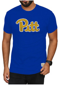Pitt Panthers Original Retro Brand Mock Twist Logo Fashion T Shirt - Blue