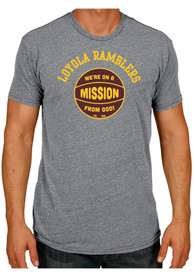 Original Retro Brand Loyola Ramblers Grey Mission From God Fashion Tee