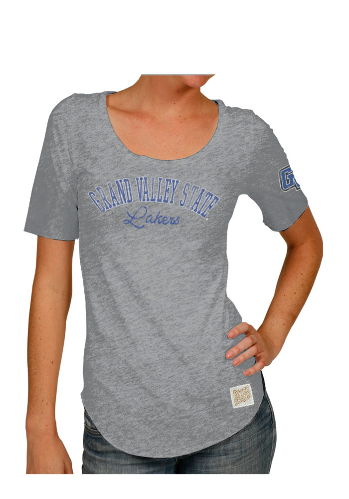 Original Retro Brand Grand Valley State Lakers Womens Grey Streaky Scoop T-Shirt - Image 1