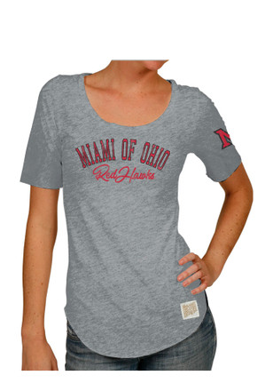 Original Retro Brand Miami Redhawks Womens Streaky Grey Scoop T-Shirt