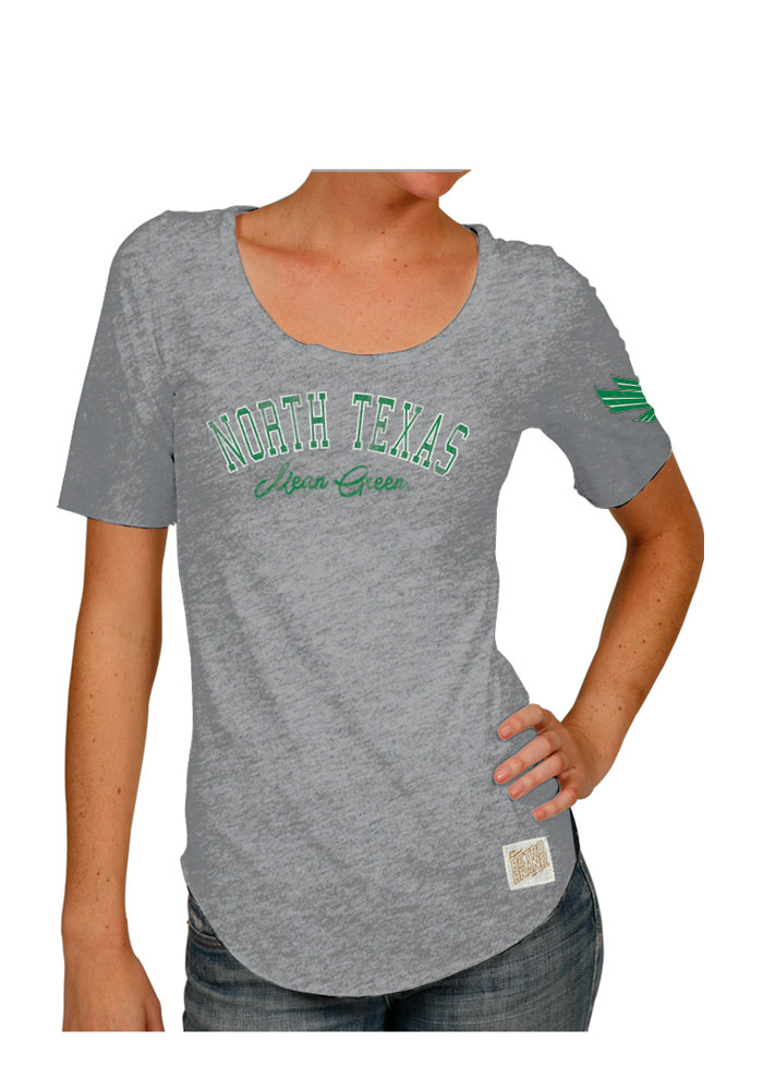Original Retro Brand North Texas Mean Green Womens Grey Streaky Scoop T-Shirt - Image 1