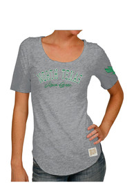 Original Retro Brand North Texas Mean Green Womens Streaky Grey Scoop T-Shirt