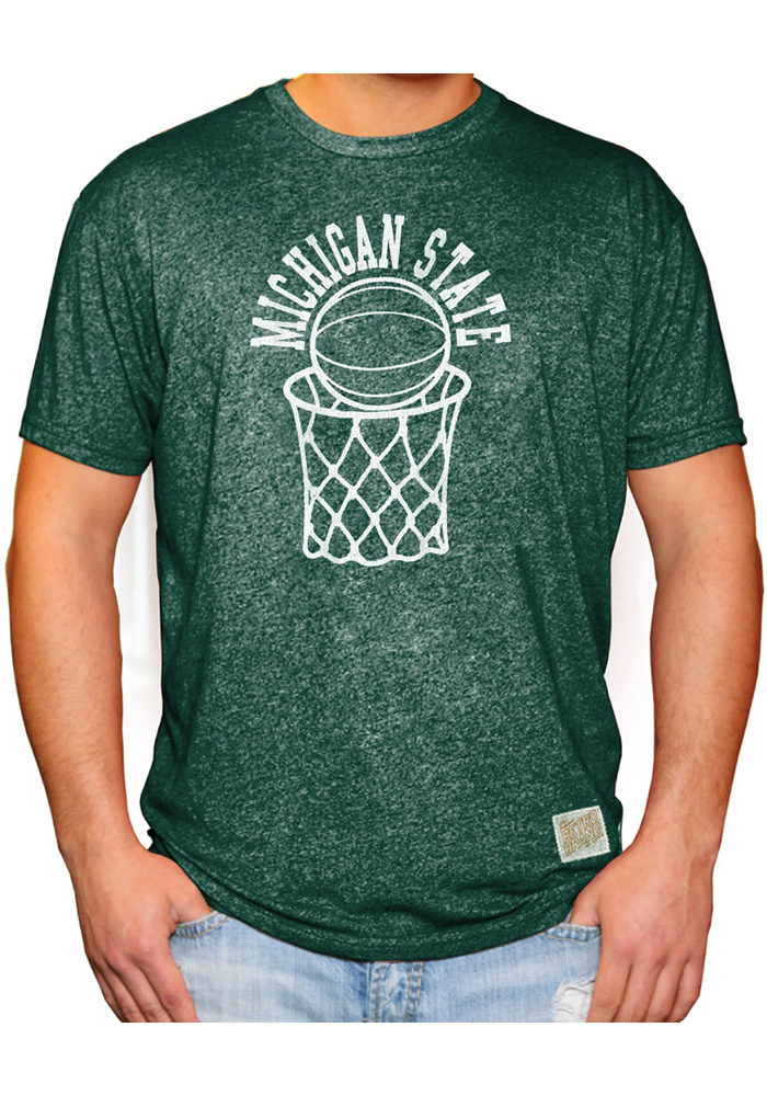 Original Retro Brand Michigan State Spartans Green Basketball Short Sleeve Fashion T Shirt - Image 1