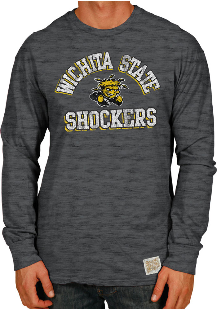 Original Retro Brand Wichita State Shockers Grey Arch Logo Long Sleeve Fashion T Shirt - Image 1
