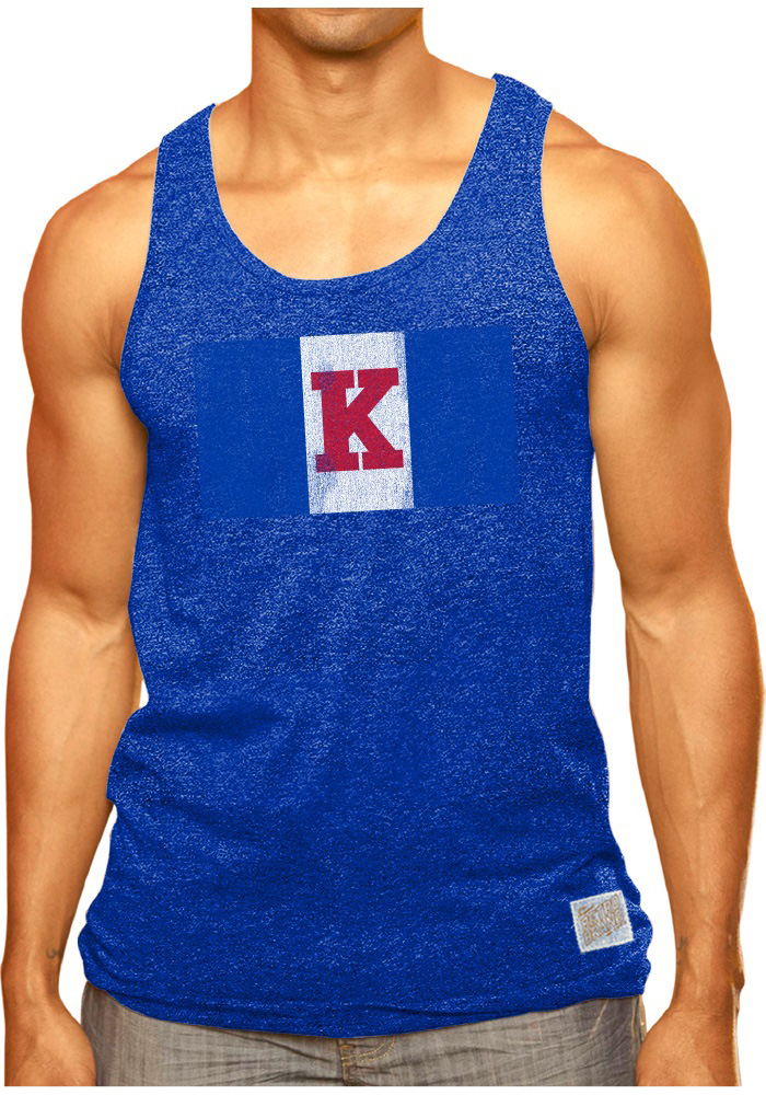 Original Retro Brand Kansas Jayhawks Blue Logo Tank Top