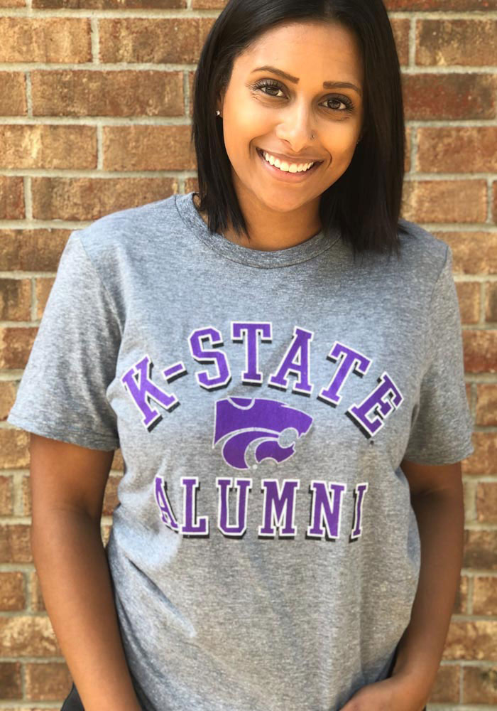K-State Wildcats Grey Shadow Arc Alumni Short Sleeve T Shirt - Image 2