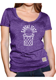 Original Retro Brand K-State Wildcats Womens Purple Arched Hoop T-Shirt