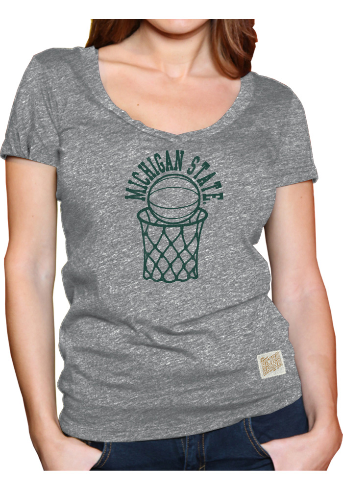 Original Retro Brand Michigan State Spartans Womens Grey Arched Hoop T-Shirt