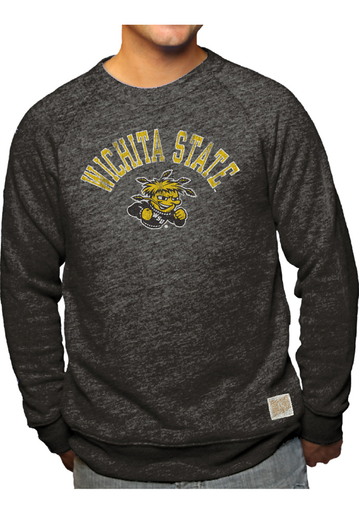 Original Retro Brand Wichita State Shockers Mens Black Vault Logo Long Sleeve Fashion Sweatshirt - Image 1