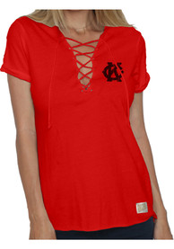 Kansas City Monarchs Womens Original Retro Brand Lace Up T-Shirt - Red