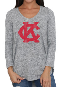 Original Retro Brand Kansas City Monarchs Womens Classic Grey LS Tee