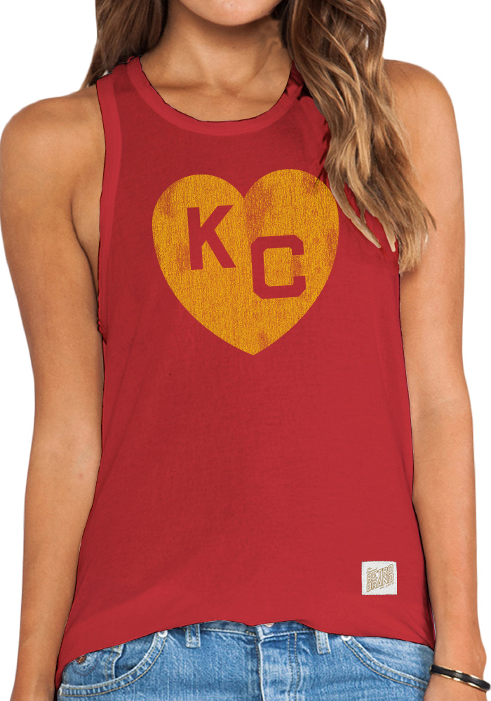 Original Retro Brand Kansas City Monarchs Womens Red Lauren Tank Top - Image 1