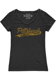 Original Retro Brand Pittsburgh Penguins Girls Black Tailsweep Fashion T-Shirt