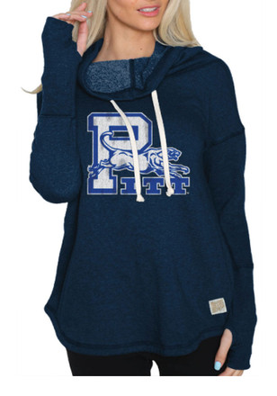 Original Retro Brand Pitt Panthers Womens Navy Blue Funnel Neck Hoodie