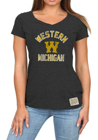 Western Michigan Broncos Womens Original Retro Brand Confetti V-Neck T-Shirt - Black
