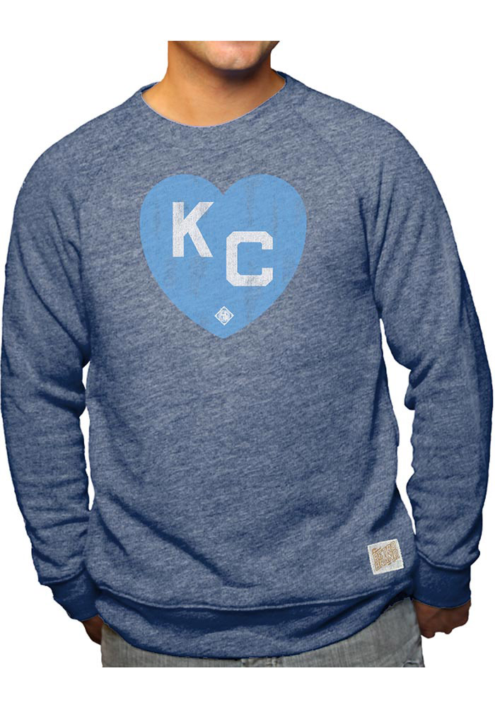 Original Retro Brand Kansas City Monarchs Mens Navy Blue Heart Kansas City Long Sleeve Fashion Sweatshirt - Image 1