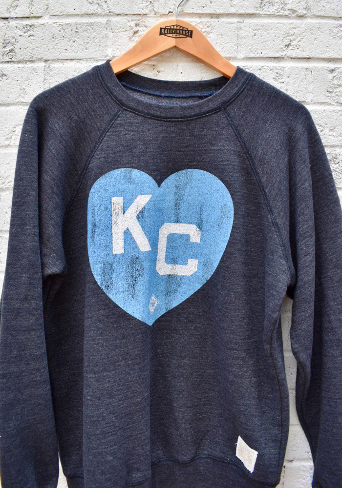 Original Retro Brand Kansas City Monarchs Mens Navy Blue Heart Kansas City Long Sleeve Fashion Sweatshirt - Image 2