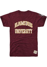 Bloomsburg University Huskies Original Retro Brand Arch Name With Sleeve Hit Fashion T Shirt - Maroon