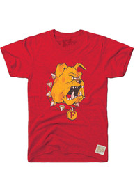 Original Retro Brand Ferris State Bulldogs Red Logo Fashion Tee
