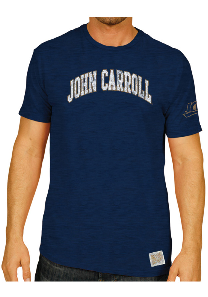 Original Retro Brand John Carroll Blue Streaks Navy Blue Arch Short Sleeve Fashion T Shirt - Image 2
