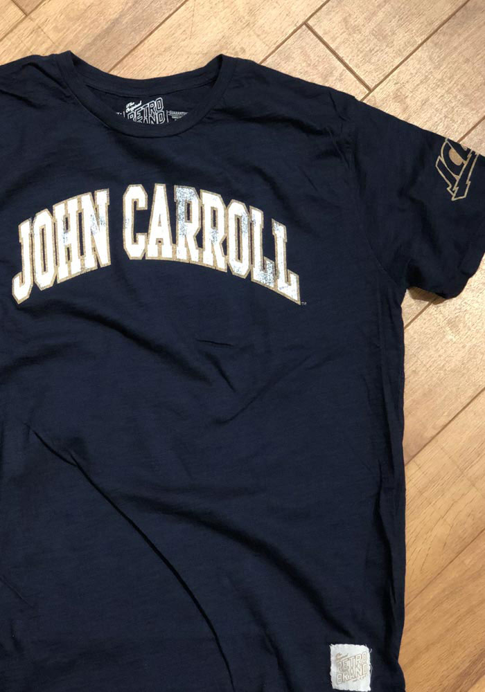 Original Retro Brand John Carroll Blue Streaks Navy Blue Arch Short Sleeve Fashion T Shirt - Image 4