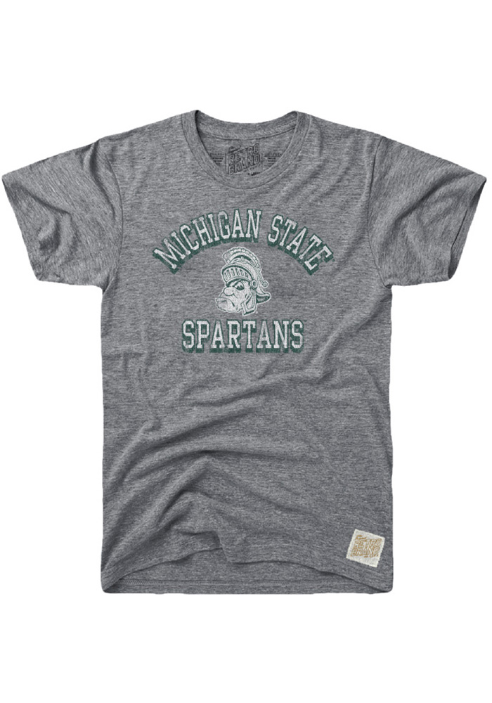 Original Retro Brand Michigan State Spartans Grey Team Short Sleeve Fashion T Shirt - Image 1