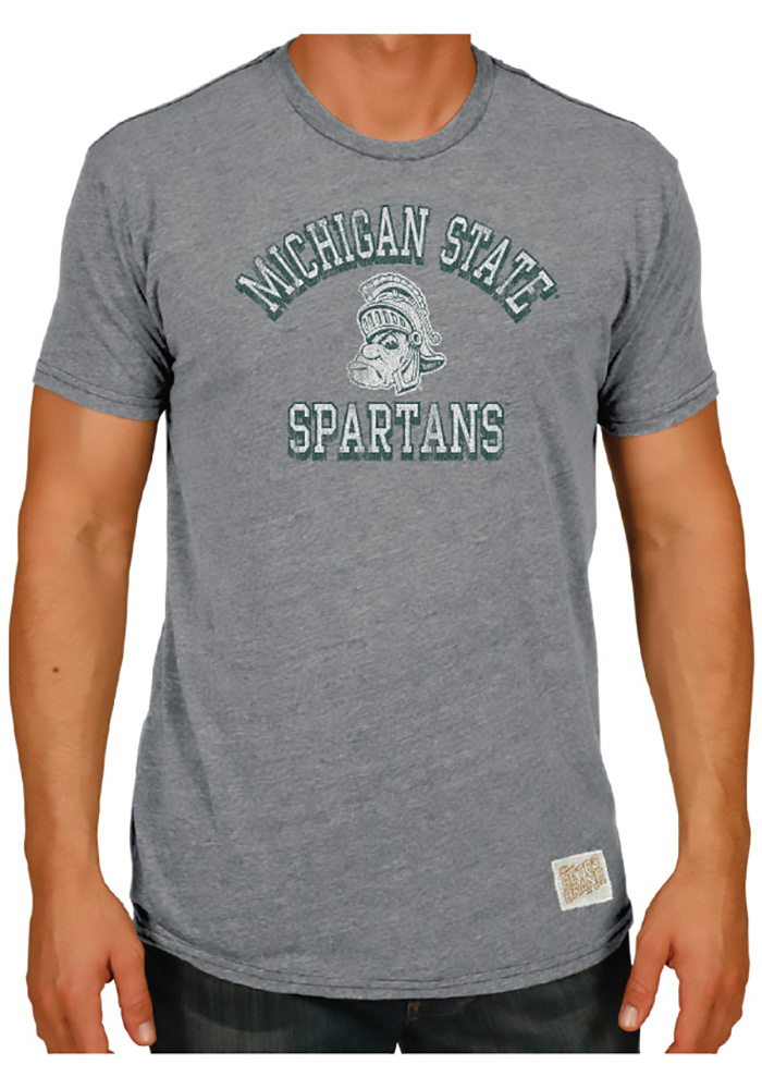 Original Retro Brand Michigan State Spartans Grey Team Short Sleeve Fashion T Shirt - Image 2