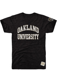 Oakland University Golden Grizzlies Original Retro Brand Arch Name With Sleeve Hit Fashion T Shirt - Black