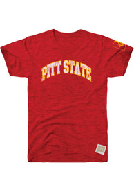 Pitt State Gorillas Original Retro Brand Arch With Sleeve Hit Fashion T Shirt - Red