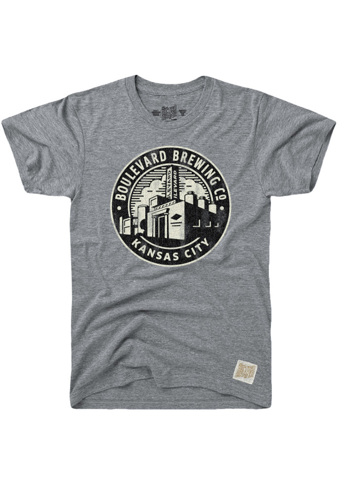 Original Retro Brand Boulevard Grey Smokestack Circle Short Sleeve T Shirt - Image 1