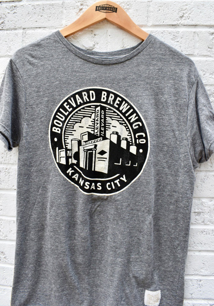 Original Retro Brand Boulevard Grey Smokestack Circle Short Sleeve T Shirt - Image 2