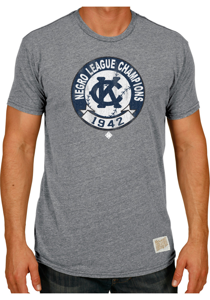 Original Retro Brand Kansas City Monarchs Grey 1942 Champs Short Sleeve Fashion T Shirt - Image 1