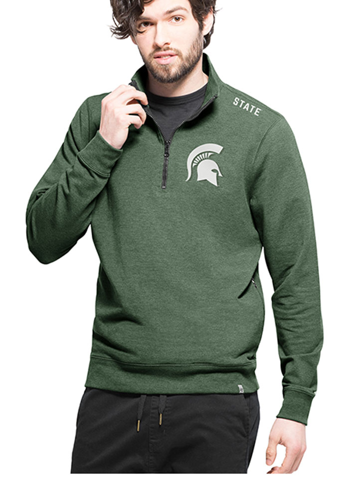 '47 Michigan State Spartans Mens Green Compete Long Sleeve 1/4 Zip Fashion Pullover - Image 1