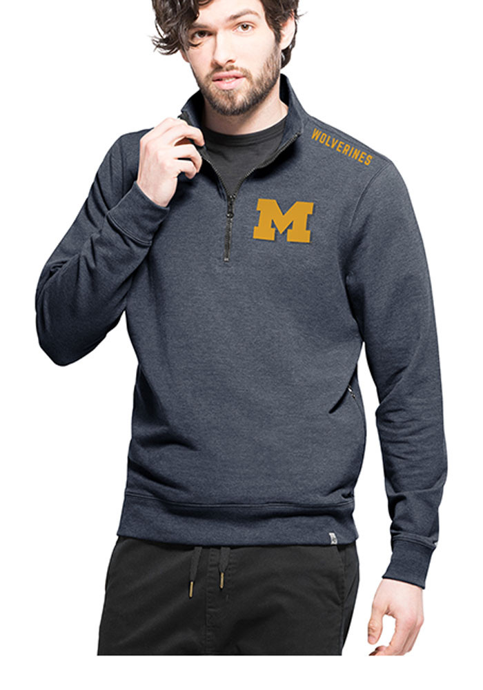 '47 Michigan Wolverines Mens Blue Compete Long Sleeve 1/4 Zip Fashion Pullover - Image 1