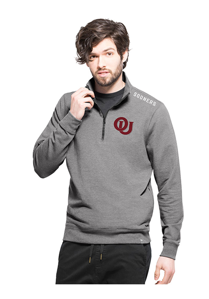 '47 Oklahoma Sooners Mens Grey Compete Long Sleeve 1/4 Zip Fashion Pullover - Image 1