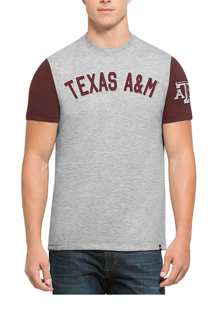 47 Texas A&M Aggies Grey Triple Up Short Sleeve Fashion T Shirt - Image 1