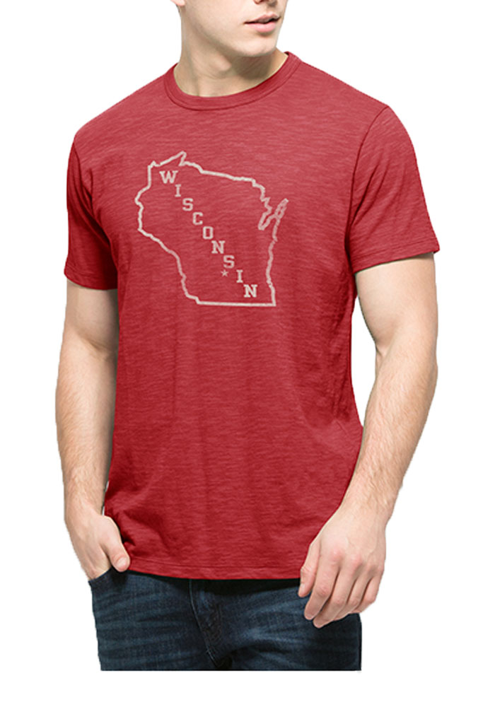 '47 Wisconsin Badgers Mens Red Scrum Short Sleeve Fashion T Shirt - Image 1