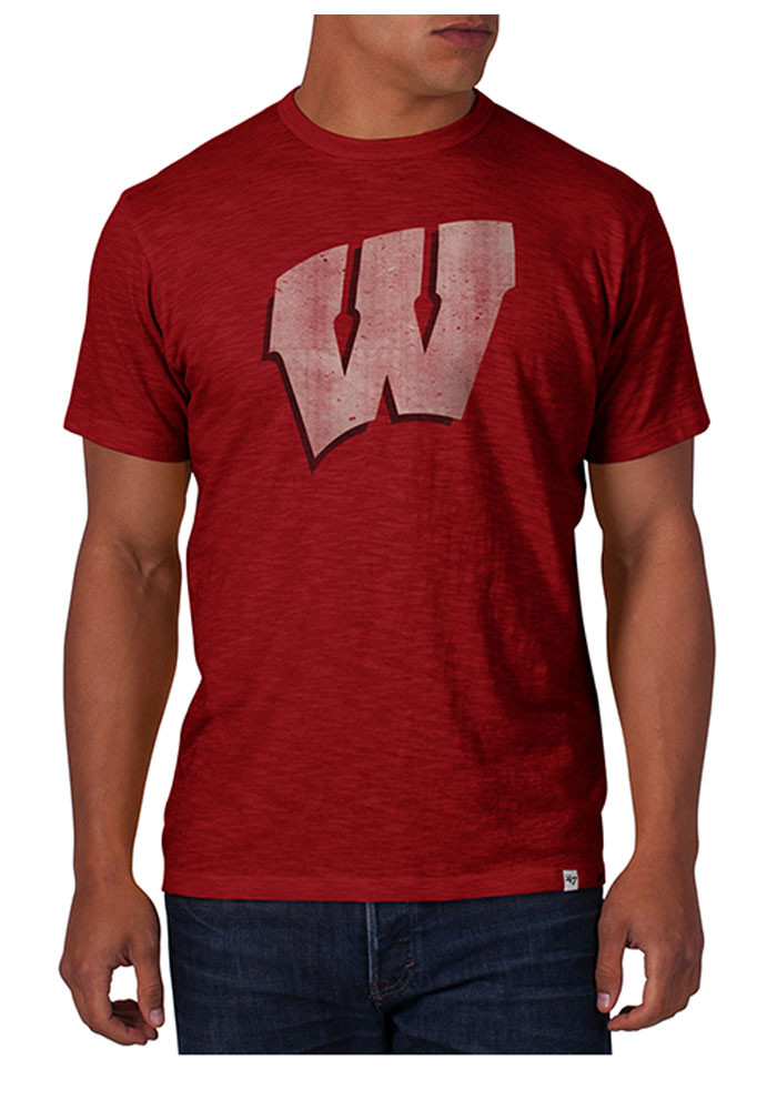 39 47 Wisconsin Badgers Mens Red Scrum Short Sleeve Fashion