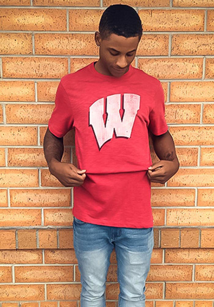 47 Wisconsin Badgers Red Scrum Short Sleeve Fashion T Shirt - Image 2