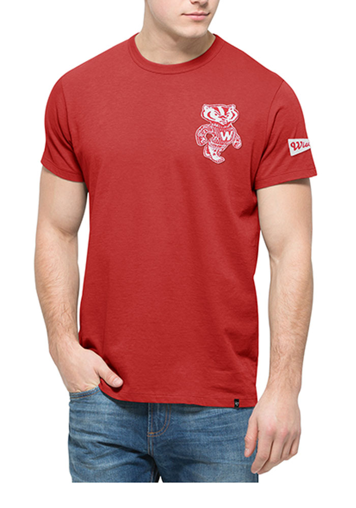 '47 Wisconsin Badgers Mens Red Fieldhouse Short Sleeve Fashion T Shirt - Image 1