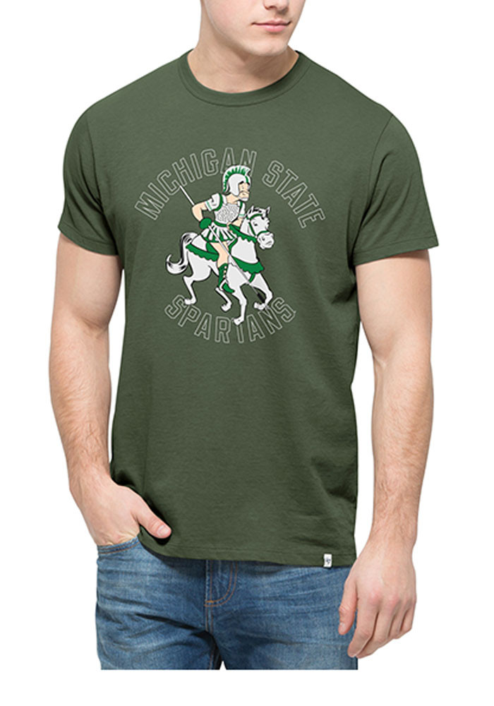 '47 Michigan State Spartans Mens Green Spartan Short Sleeve Fashion T Shirt - Image 1