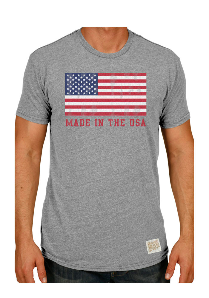 Original Retro Brand Team USA Grey Made In The USA Short Sleeve Fashion T Shirt - Image 1