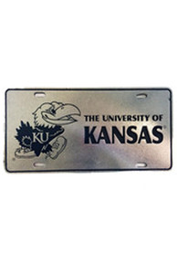 Kansas Jayhawks Pewter Car Accessory License Plate