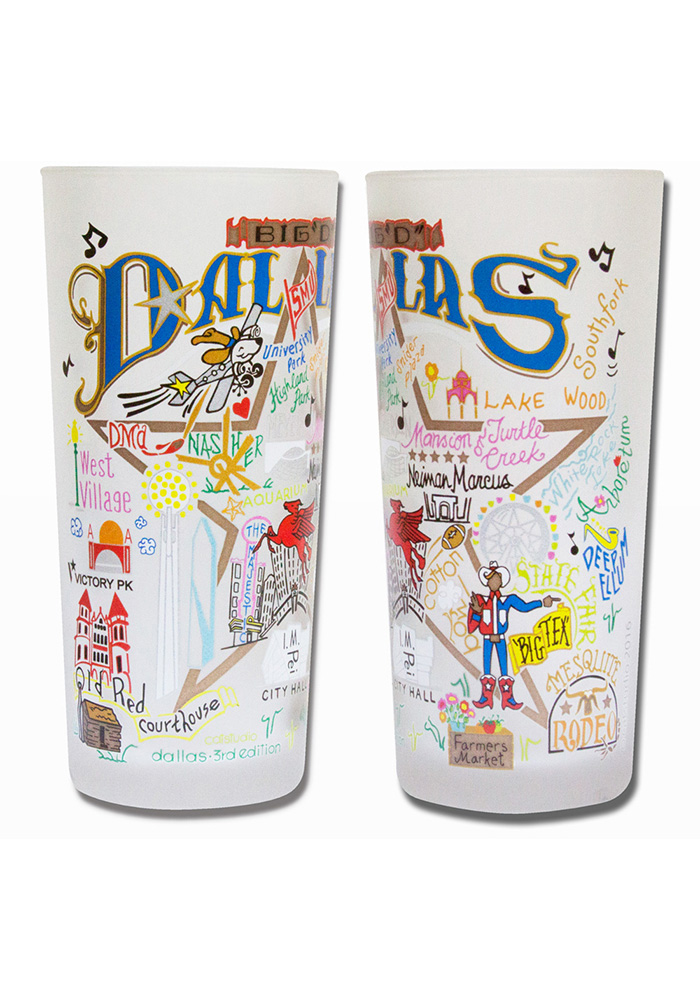 Dallas Ft Worth 15oz Illustrated Frosted Pint Glass - Image 1