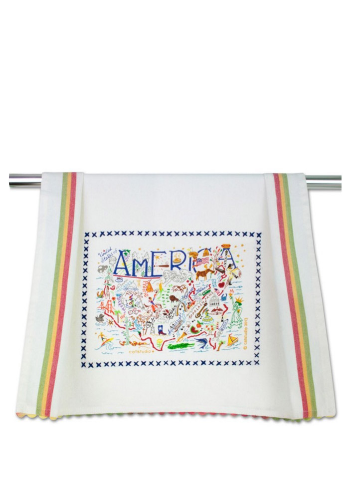 America Embroidered Dish Towel - Image 1